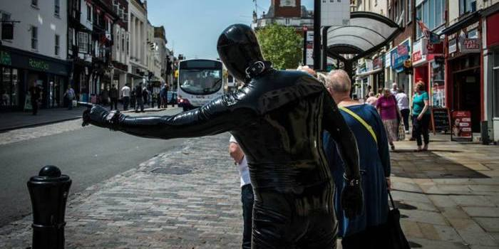 Image result for man in gimp suit running