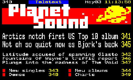Planet Sound teletext