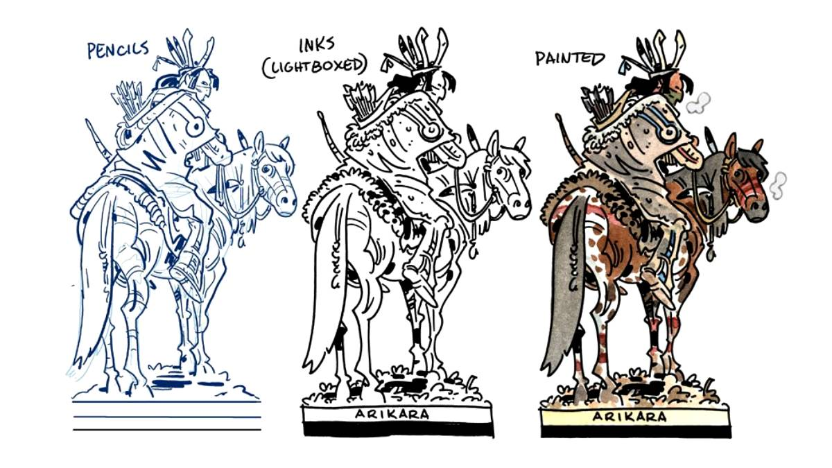 Process images on a Native American horseback paper figure, showing pencils, inks and colours