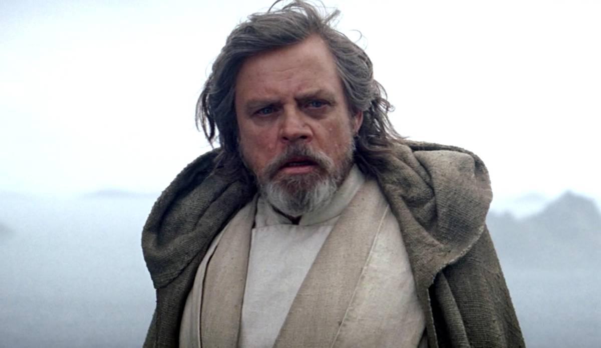A still of Mark Hammil as Luke Skywalker, from the ending shot of The Force Awakens