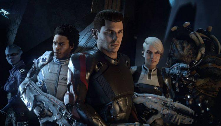 An official Mass Effect: Andromeda screenshot, portraying the main cast