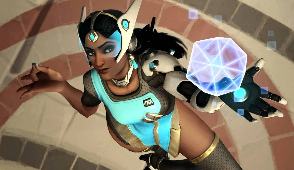An Overwatch screenshot showing Symmetra in a highlight intro pose