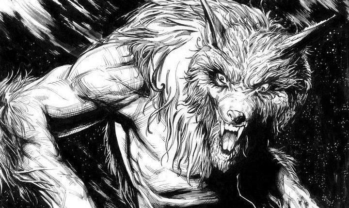 Grimwood Crossing panel featuring werewolf art