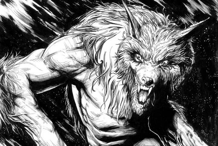 Grimwood Crossing panel featuring werewolf art
