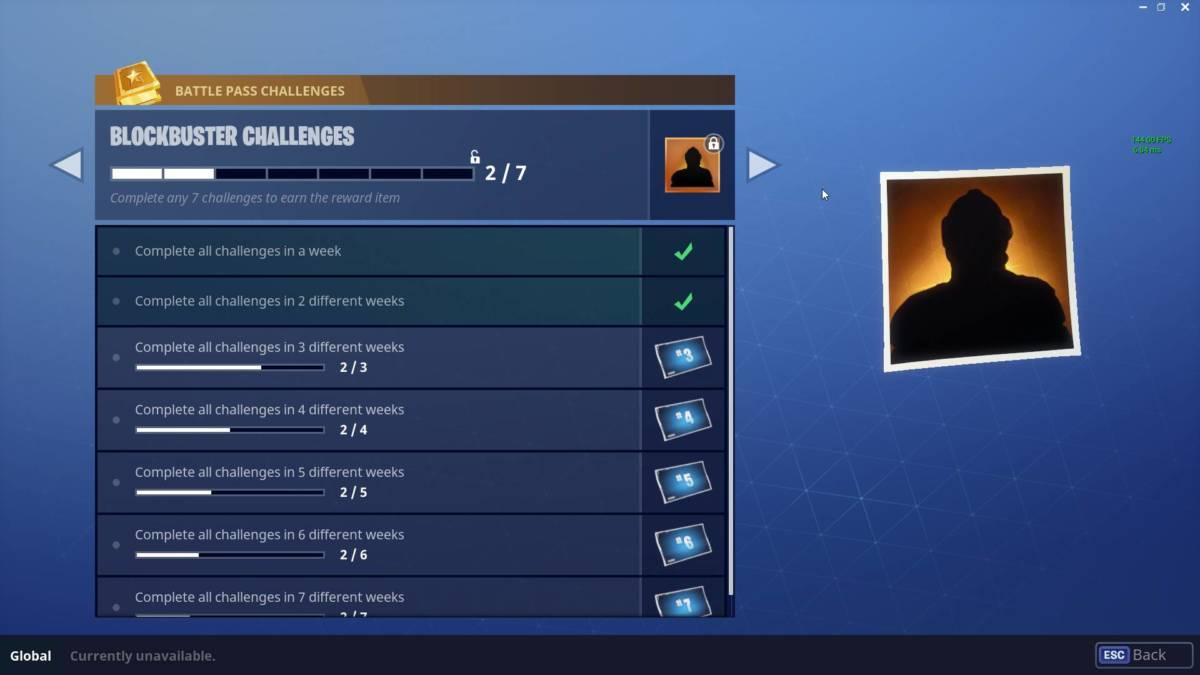 Fortnite Blockbuster challenge screen