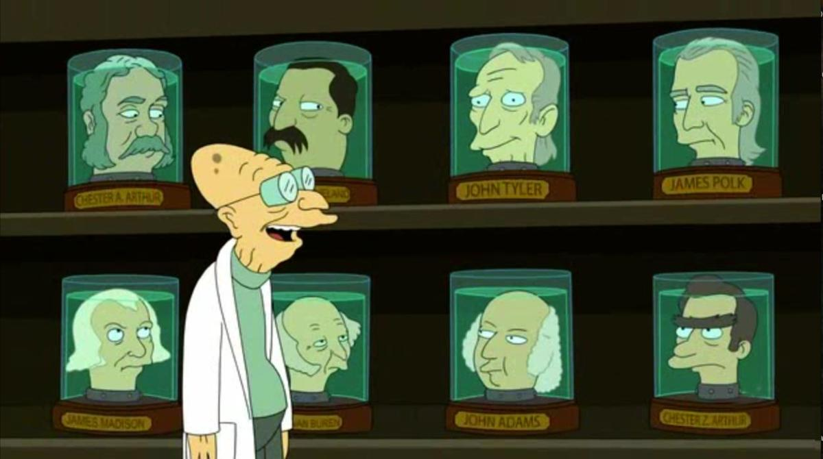 futurama all the president's heads