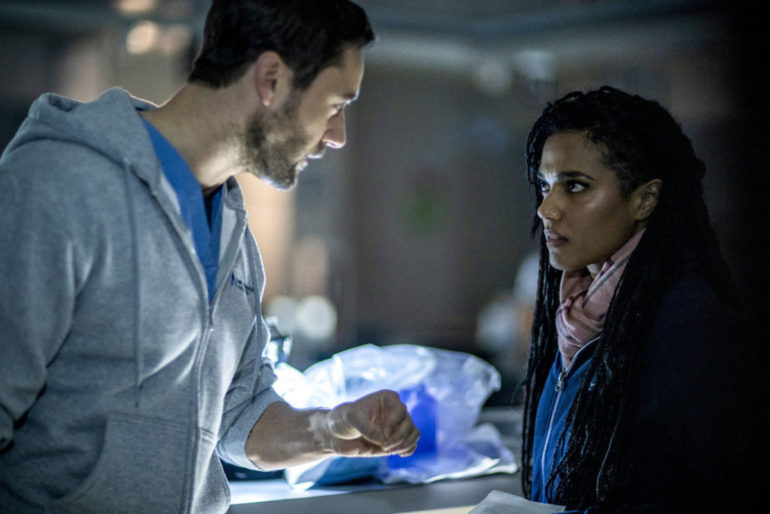 NEW AMSTERDAM -- replacement : (l-r) Ryan Eggold as Dr. Max Goodwin, Freema Agyeman as Dr. Helen Sharpe -- (Photo by: Zach Dilgard/NBC) replacement