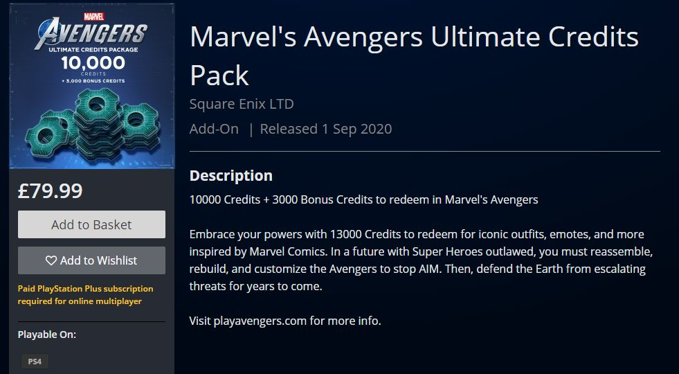 Marvel's Avengers Microtransactions
