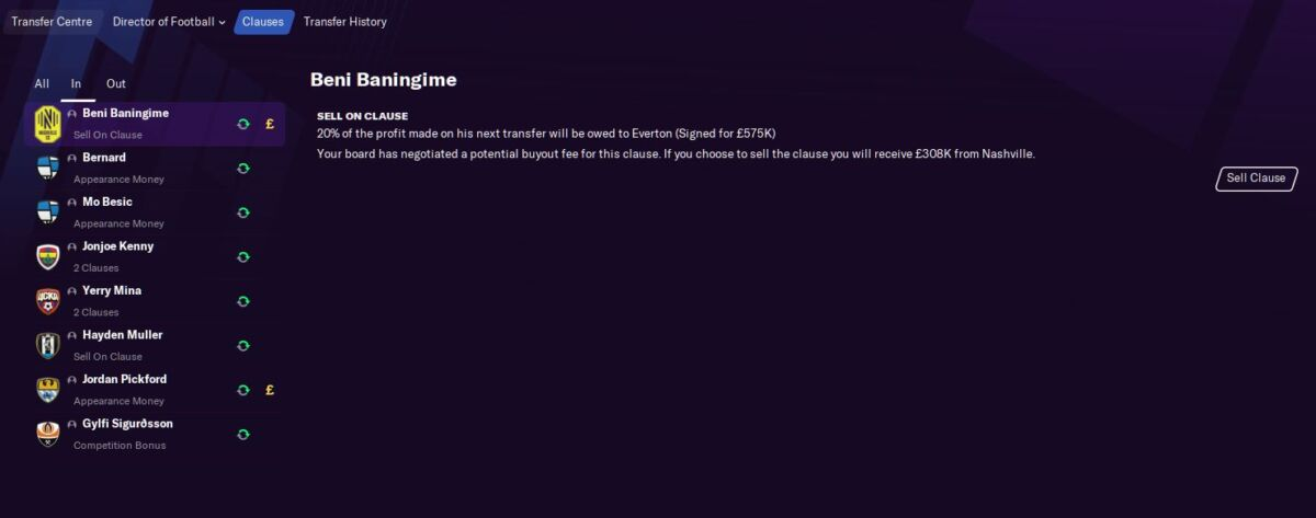 Football Manager 2021 clause buyout