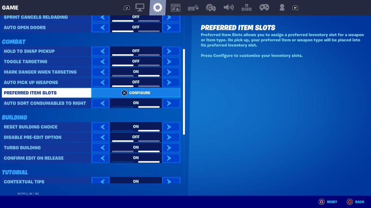 Fortnite Preferred Item Slots