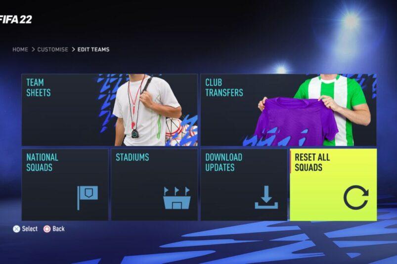 Reset Squads FIFA 22