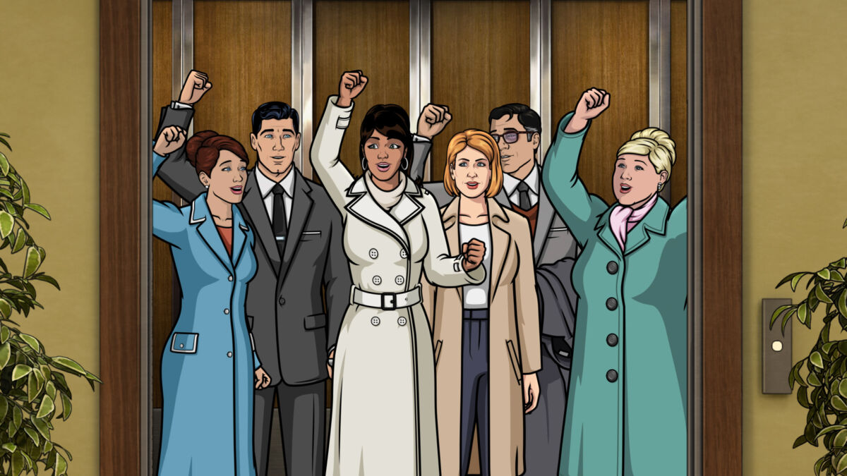 """ARCHER -- """"Shots""""— Season 12, Episode 5 (Airs Wednesday, September 15th) — Pictured: (l-r) Cheryl/Carol Tunt (voice of Judy Greer), Sterling Archer (voice of H. Jon Benjamin), Lana Kane (voice of Aisha Tyler), Sandra (voice of Pamela Adlon), Cyril Figgis (voice of Chris Parnell) and Pam Poovey (voice of Amber Nash). CR:FXX"""